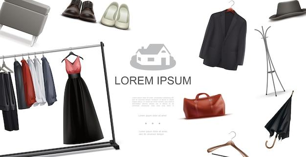 Mannelijke en vrouwelijke kledingkast elementen concept met shirts jas jurk paraplu schoenen tas kruk hangers fedora hoed in realistische stijl