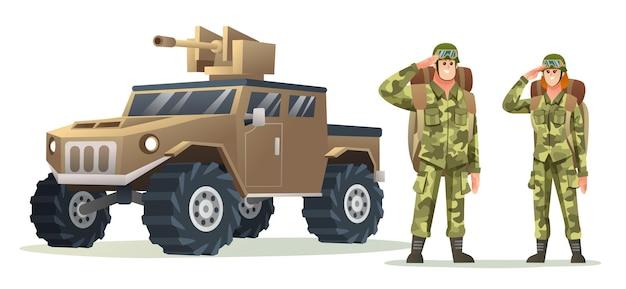 Mannelijke en vrouwelijke legersoldaat met rugzakkarakters met militair voertuig