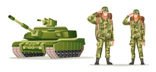 Mannelijke en vrouwelijke legersoldaat met rugzakkarakters met tank