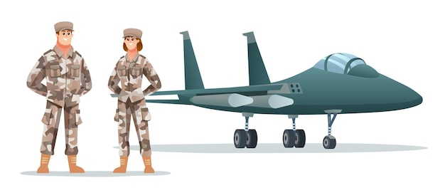 Mannelijke en vrouwelijke legersoldaatpersonages met militair straalvliegtuig