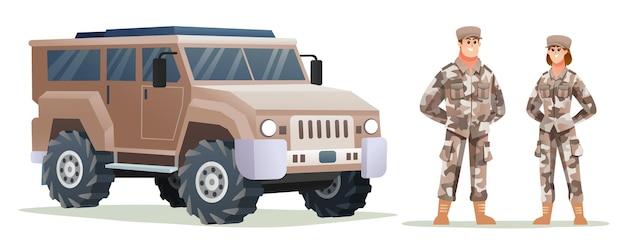 Mannelijke en vrouwelijke legersoldaatpersonages met militair voertuig
