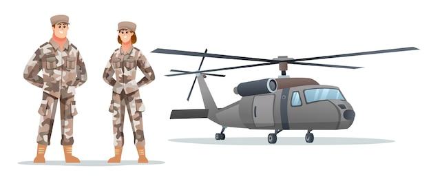 Mannelijke en vrouwelijke legersoldaatpersonages met militaire helikopter
