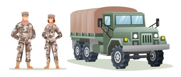 Mannelijke en vrouwelijke legersoldaatpersonages met militaire vrachtwagen