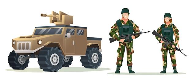 Mannelijke en vrouwelijke legersoldaten met wapengeweren met cartoonillustratie van een militair voertuig