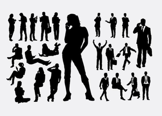 Mannelijke en vrouwelijke mensen met handphone silhouet