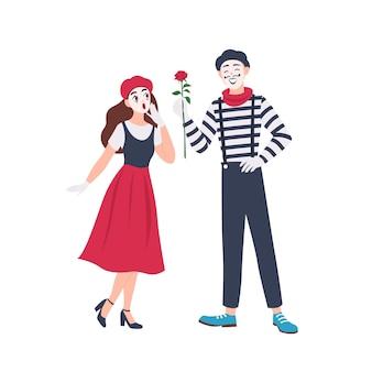 Mannelijke en vrouwelijke mimespelers geïsoleerd. leuke grappige jongen roze bloem geven meisje