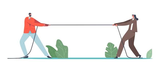 Mannelijke en vrouwelijke ondernemers tekens touwtrekken competitie concept. gender team rivaliteit, office superhelden vechten, strijd om leiderschap, toernooi, vechten. cartoon mensen vectorillustratie