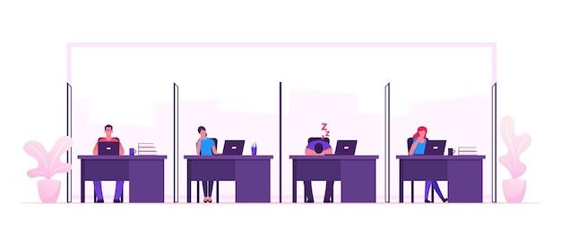 Mannelijke en vrouwelijke ondernemers tekens zitten aan tafels met computers in moderne coworking-ruimte werken en ontspannen op de werkplek. mensen uit het bedrijfsleven teamworking project cartoon platte vectorillustratie