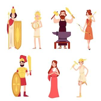 Mannelijke en vrouwelijke oude griekse of romeinse goden cartoonstijl instellen