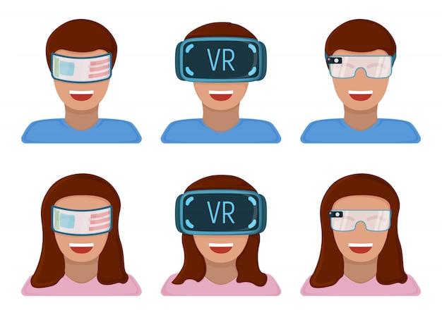 Mannelijke en vrouwelijke personage in virtual reality bril, moderne technologie augmented reality geïsoleerd