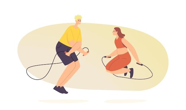 Mannelijke en vrouwelijke personages die sporten, trainen en trainen met springtouw