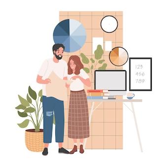 Mannelijke en vrouwelijke personages die werken bij de platte illustratie van de ontwerpstudio
