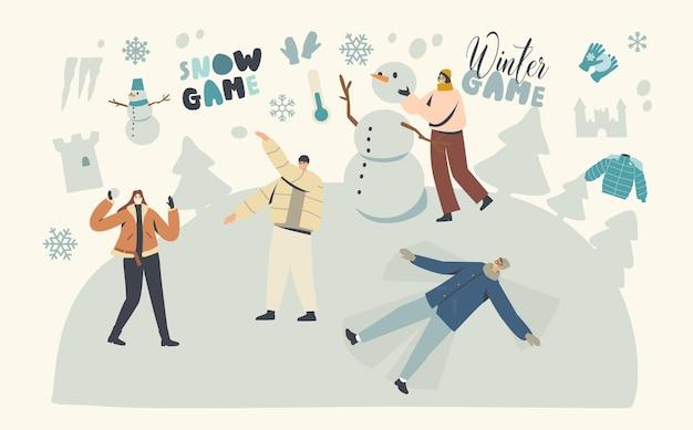 Mannelijke en vrouwelijke personages genieten van sneeuwpret en wintervakantie feestseizoen. gelukkige mensen die sneeuwpop maken, sneeuwballen spelen, winteractiviteiten en vrije tijd voor het gezin. lineaire vectorillustratie