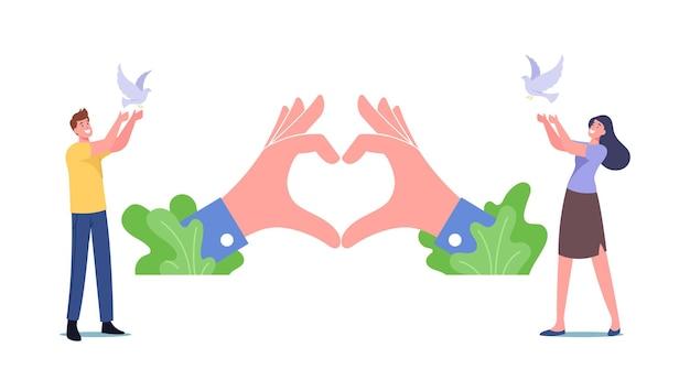 Mannelijke en vrouwelijke personages laten witte duiven in de lucht los. internationale dag van vrede, hoop, wereldwijde anti-oorlogscampagne, menselijkheidsconcept. mensen met duiven en hartsymbool. cartoon vectorillustratie