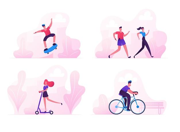 Mannelijke en vrouwelijke personages sportactiviteit