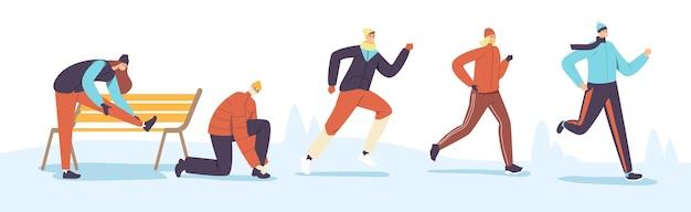 Mannelijke en vrouwelijke personages winter running. sport joggen competitie. atleet sprinters sporters en sportvrouwen in warme kleren lopen sprintrace in het koude seizoen. cartoon mensen vectorillustratie