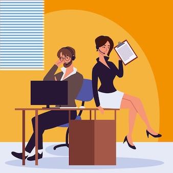 Mannelijke en vrouwelijke persoonlijke assistenten