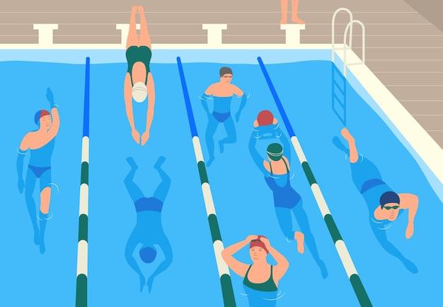 Mannelijke en vrouwelijke platte stripfiguren dragen caps, bril en badmode springen en zwemmen of wichelen in zwembad.