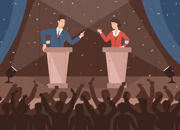 Mannelijke en vrouwelijke politici nemen deel aan politieke debatten voor publiek