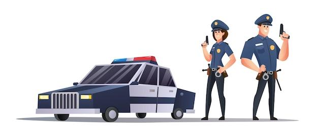 Mannelijke en vrouwelijke politieagenten die geweren houden naast de illustratie van de politiewagen Premium Vector
