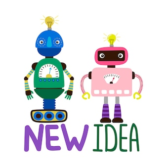 Mannelijke en vrouwelijke robots illustratie