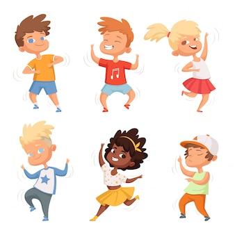 Mannelijke en vrouwelijke set dansende kinderen
