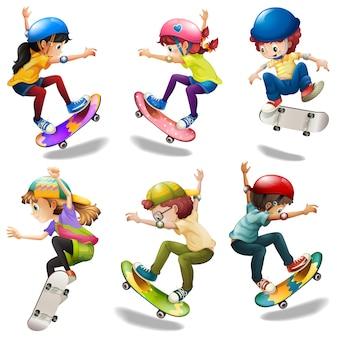 Mannelijke en vrouwelijke skaters