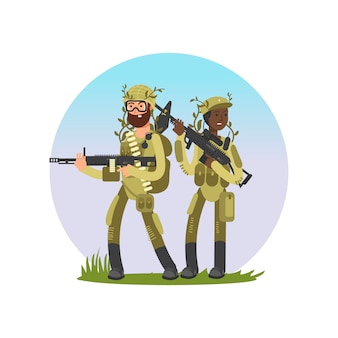 Mannelijke en vrouwelijke soldaten cartoon characterdesign