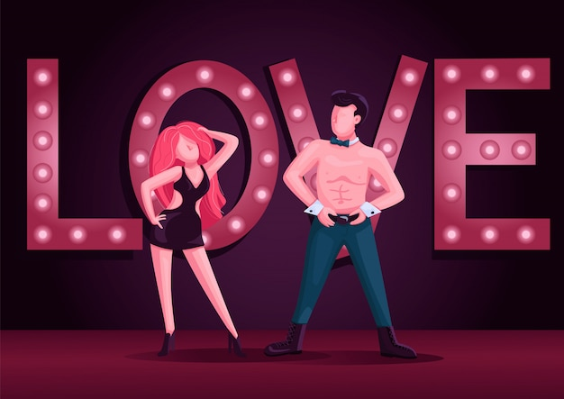 Mannelijke en vrouwelijke strip dansers kleur illustratie. aantrekkelijke man en vrouw dansvoorstelling stripfiguren. striptease show met nachtclub lichten op de achtergrond