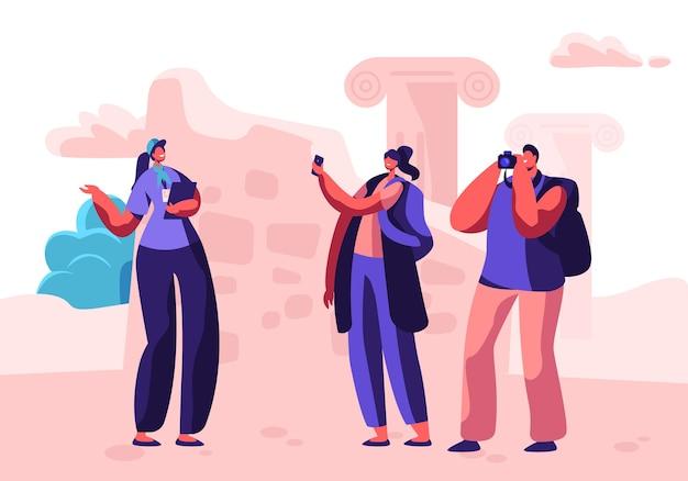 Mannelijke en vrouwelijke toeristische personages bezoeken bezienswaardigheden met gids en maken foto's op fotocamera. concept illustratie