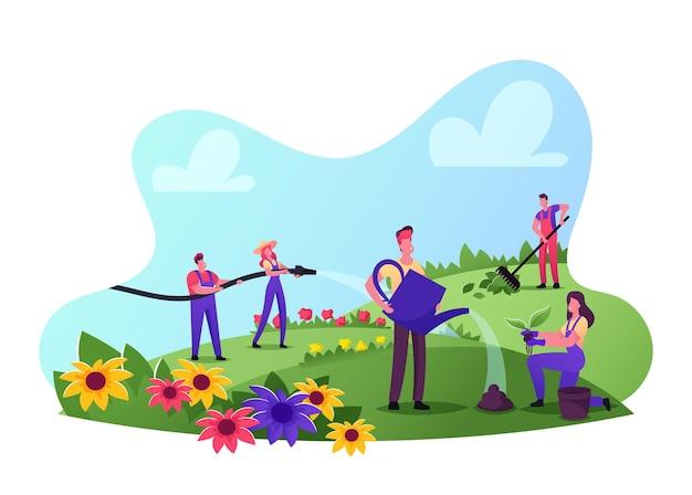 Mannelijke en vrouwelijke tuinmankarakters die werkoveralls dragen verzorging van bloemen op het veld harken, water geven en spruiten planten. tuinieren, buitenactiviteiten. cartoon mensen vectorillustratie