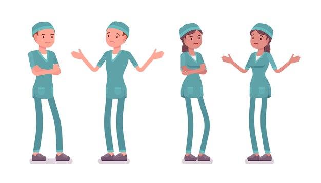 Mannelijke en vrouwelijke verpleegster in negatieve emoties