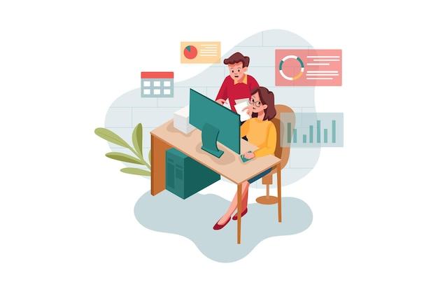 Mannelijke en vrouwelijke werknemer die online marketing doet