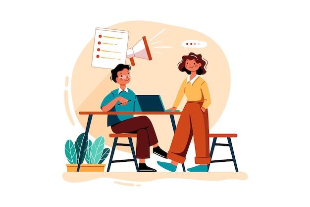 Mannelijke en vrouwelijke werknemer die planning voor digitale marketing doet