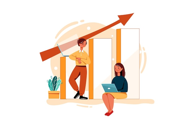 Mannelijke en vrouwelijke werknemers werken aan omzetgroei