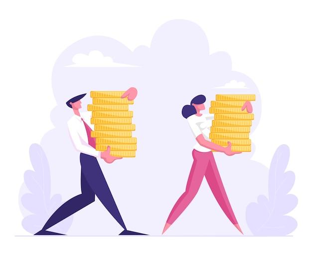 Mannelijke en vrouwelijke zakelijke karakters dragen stapel gouden munten vlakke afbeelding