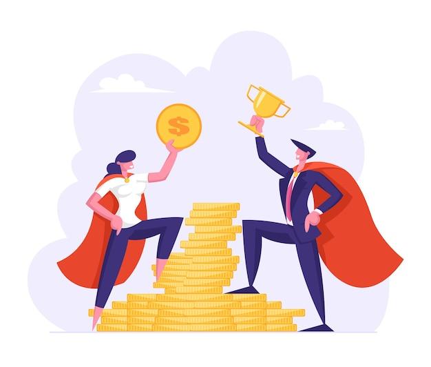 Mannelijke en vrouwelijke zakenpersonages in superheldmantels houden gouden dollar en beker vast