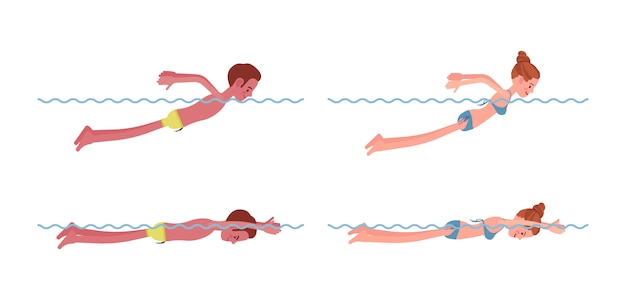 Mannelijke en vrouwelijke zwemmer in vlinder stijlset zwemmen