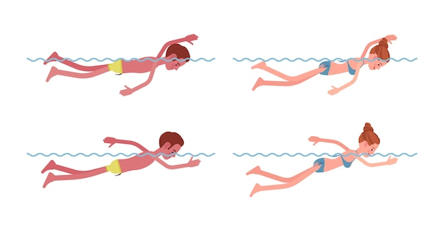 Mannelijke en vrouwelijke zwemmer in vrij zwemstijl set
