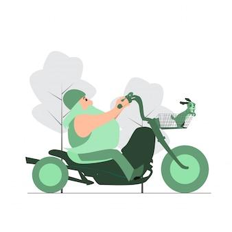 Mannelijke fietser die een motorfiets berijdt op de weg.