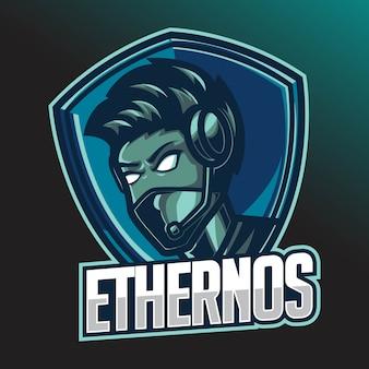 Mannelijke gamer e-sport logo ontwerpsjabloon met hoofdtelefoon