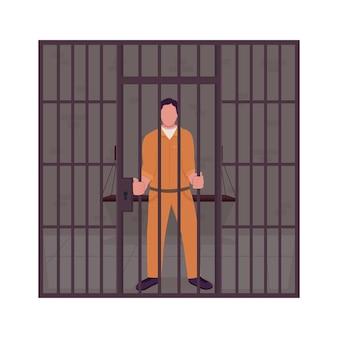 Mannelijke gevangene in de gevangenis semi-egale kleur vector karakter