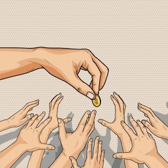 Mannelijke hand die een geldmuntstuk geeft aan menigte