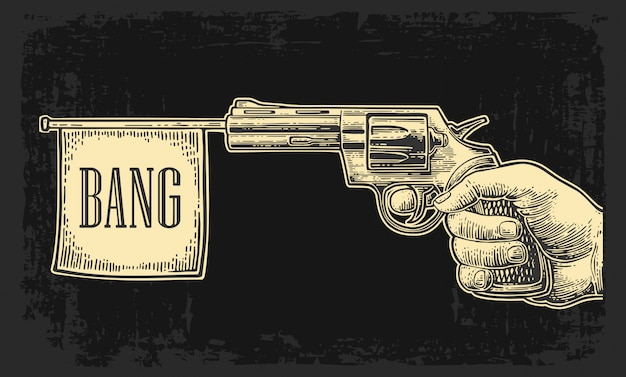 Mannelijke hand met revolver met knal vlag. gravure vintage illustraties.