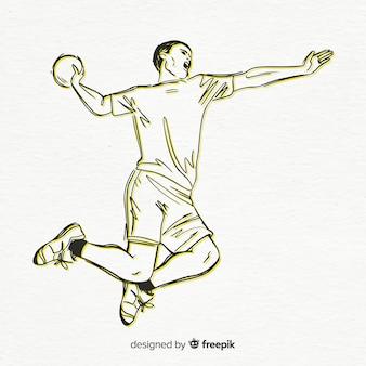 Mannelijke handbalspeler
