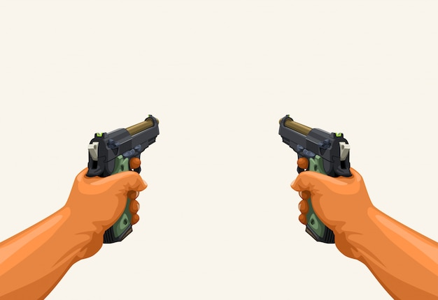 Mannelijke handen met twee kanonnen