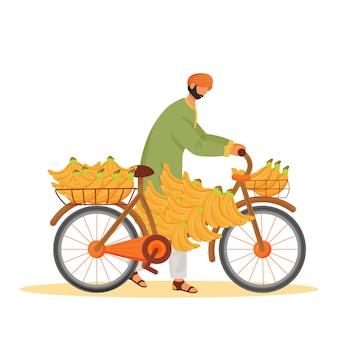 Mannelijke indiër die bananen op het anonieme karakter van de fiets vlakke kleur dragen. exotische fruitverkoper, man met cyclus geïsoleerde cartoon illustratie voor web en animatie