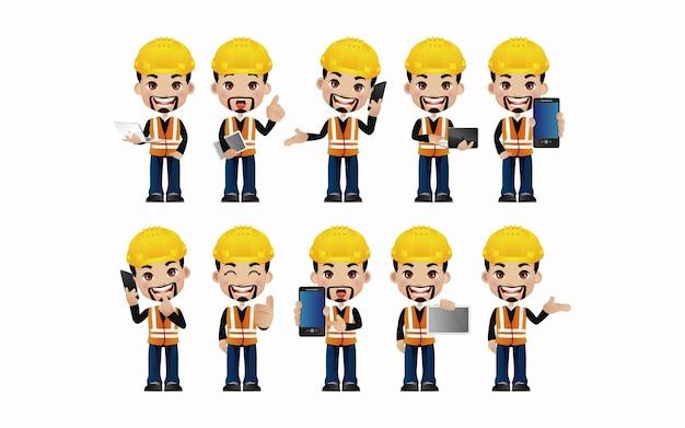 Mannelijke ingenieur met verschillende poses