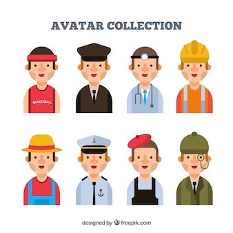 Mannelijke job avatars met vlak ontwerp