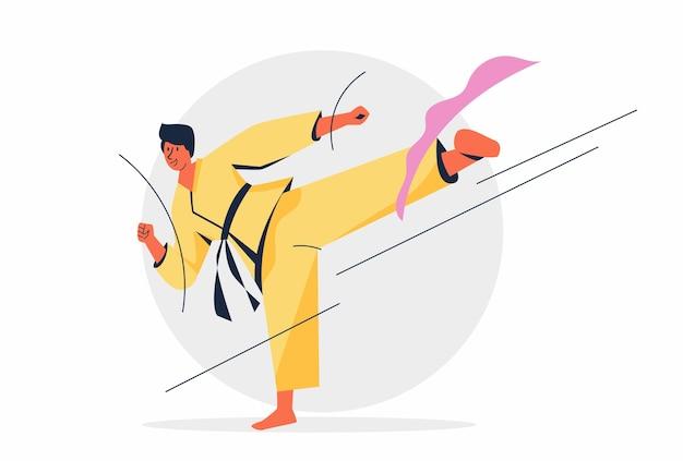 Mannelijke judo atleten schoppen hun tegenstanders met hun voeten voor de beslissing van de set.
